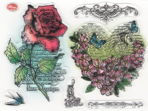 クリアスタンプ 薔薇とハートの菫 スミレ バイオレット 14x17.5cm