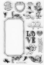 クリアスタンプ 装飾フレーム、天使、ハート、LOVE バレンタイン 10x15cm