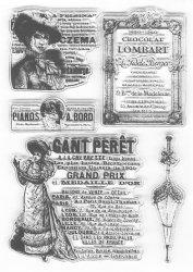 クリアスタンプ ビクトリアンレディとパラソル、ラベル広告 10x15cm