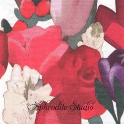 北欧 ペンティック SYLVIA 赤い薔薇と花 1枚 バラ売り 33cm ペーパーナプキン PENTIK