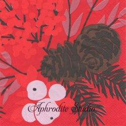北欧 ペンティック KARELIA レッド クリスマス 1枚 バラ売り 33cm ペーパーナプキン PENTIK
