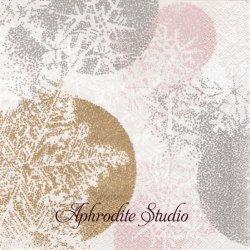 北欧 ペンティック HIUTALE パステル 点描のスノーフレーク クリスマス 1枚 バラ売り 33cm ペーパーナプキン PENTIK