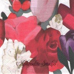 24cm 北欧 ペンティック SYLVIA 赤い薔薇と花 1枚 バラ売り ペーパーナプキン PENTIK