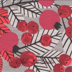 24cm 北欧 ペンティック RUUSUNMARJA 紅い実クリスマス 1枚 バラ売り ペーパーナプキン PENTIK