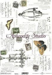 商用販売可能 トランスファーペーパー 蝶とシャンデリア デコパージュシート 1枚 和紙 ライスペーパー ITD Collection