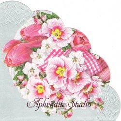 32cm ピンク色の春の花のブーケ 1枚 バラ売り サークル スカラップ型ペーパーナプキン Maki