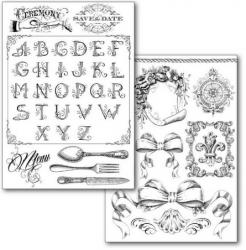 商用販売可能 スタンペリア トランスファーペーパー 2枚セット  Alphabet and decorations デコパージュシート DFTR082 STAMPERIA