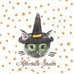 25cm モリー&レックス Cat Witch Hat 黒いウイッチハットの猫 1枚 バラ売り ペーパーナプキン MOLLY & REX