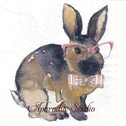 25cm モリー&レックス Bowtie Bunny Pink ピンク蝶ネクタイの兎 うさぎ バニー ラビット イースター 1枚 バラ売り ペーパーナプキン MOLLY & REX