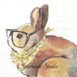 25cm モリー&レックス Scarf Bunny スカーフの兎 うさぎ バニー ラビット イースター 1枚 バラ売り ペーパーナプキン MOLLY & REX