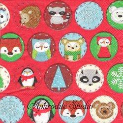 25cm モリー&レックス Critter Polka Dot 可愛い動物たちの円 クリスマス 1枚 バラ売り ペーパーナプキン MOLLY & REX
