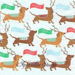 25cm モリー&レックス Dachsunds トナカイになるダックスフンド 犬 クリスマス 1枚 バラ売り ペーパーナプキン MOLLY & REX