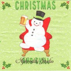 25cm モリー&レックス Lazy Christmas スノーマン、ビールを飲む。 クリスマス 1枚 バラ売り ペーパーナプキン MOLLY & REX