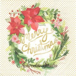 25cm モリー&レックス Santa Wreath アンティークサンタ・リース クリスマス 1枚 バラ売り ペーパーナプキン MOLLY & REX