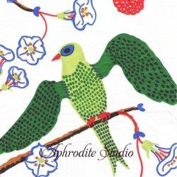40cm 北欧 スヴェンスク・テン GRONA FAGLAR 緑色の小鳥 1枚 バラ売り ペーパーナプキン SVENSKT TENN
