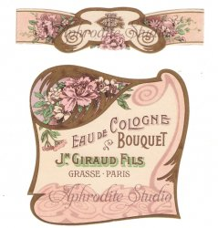 フランス 香水ラベル 【ピンクの花 アールヌーボー 2枚1セット】1930年代 アンティーク パフュームラベル