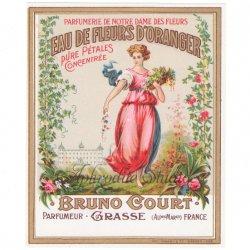 フランス 香水ラベル 【花の庭園と女性】1930年代 アンティーク パフュームラベル