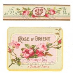 フランス 香水ラベル 【オリエンタル・ローズ 薔薇 2枚1セット】1930年代 アンティーク パフュームラベル