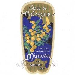 フランス 香水ラベル 【ミモザのオーデコロン】1930年代 アンティーク パフュームラベル
