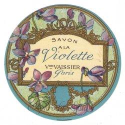 フランス 香水ラベル 【蒼い菫 丸】1930年代 アンティーク パフュームラベル