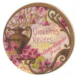 フランス 香水ラベル 【赤紫の菫 丸】1930年代 アンティーク パフュームラベル