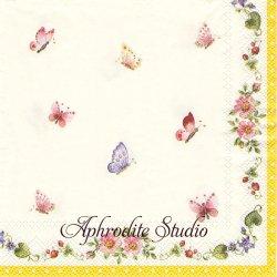 25cm ヴィレロイ&ボッホ SPRING AWAKENING 春のお花と蝶 1枚 バラ売り ペーパーナプキン Villeroy & Boch