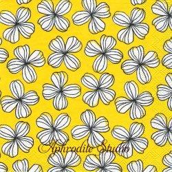 25cm LIV イエロー 四葉の花 1枚 バラ売り ペーパーナプキン Ihr