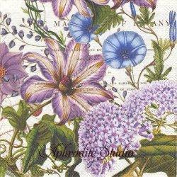 25cm RHAPSODY パープルの花 1枚 バラ売り ペーパーナプキン デコパージュ用 MICHEL DESIGN WORKS