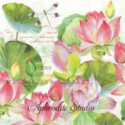 25cm WATER LILIES ハス 蓮 睡蓮の花 1枚 バラ売り ペーパーナプキン デコパージュ用 MICHEL DESIGN WORKS