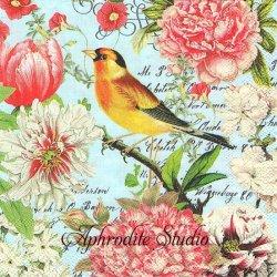 25cm GARDEN MELODY シャクヤクと小鳥 1枚 バラ売り ペーパーナプキン デコパージュ用 MICHEL DESIGN WORKS