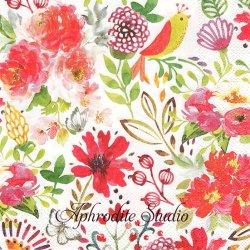 CONFETTI カラフルなお花 1枚 バラ売り 33cm ペーパーナプキン MICHEL DESIGN WORKS