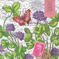 廃盤 GREEN MEADOW クローバーと蝶とお花 1枚 バラ売り 33cm ペーパーナプキン MICHEL DESIGN WORKS