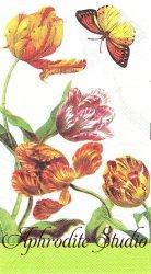 33x40cm 廃番 TULIPS チューリップ 1枚 バラ売り ペーパーナプキン MICHEL DESIGN WORKS