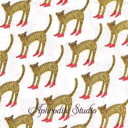 25cm RUBY SLIPPERS 赤いハイヒールの豹 BOUFFANAS AND BROKEN HEARTS 1枚 ペーパーナプキン 紙ナプキン バラ売り デコパージュ Caspari カスパリ