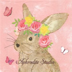 Easter Beauty 薔薇冠の兎 バニー ラビット イースター アーティスト物 Carson Higham Publishing 2018 1枚 バラ売り 33cm ペーパーナプキン ppd