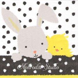 Easter Friends イースターの友達ひよこと兎 バニー ラビット アーティスト物 Heike Schick 1枚 バラ売り 33cm ペーパーナプキン ppd