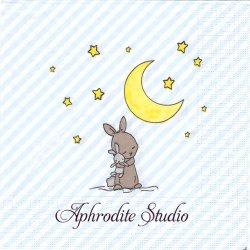 Good Night Louise ブルー おやすみ月と兎 バニー ラビット イースター アーティスト物 Bazzart 1枚 バラ売り 33cm ペーパーナプキン ppd