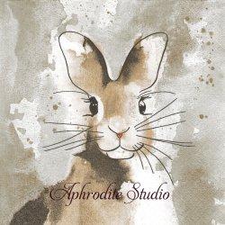 Watercolour Bunny つぶらな瞳の茶毛兎 バニー ラビット イースター 1枚 バラ売り 33cm ペーパーナプキン Paper+Design