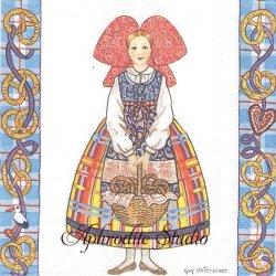 Guy Untereiner Alsatians Pretzels アルザスの少女 1枚 バラ売り 33cm ペーパーナプキン Ambiente