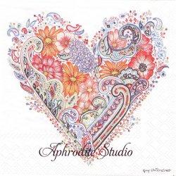 Guy Untereiner SPRING HEART 春のお花のハート 1枚 バラ売り 33cm ペーパーナプキン Ambiente