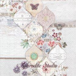 Suela JOSEPHINE ダイヤ型 お花 1枚 バラ売り 33cm ペーパーナプキン Ambiente