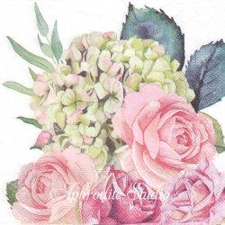ROSE GARDEN 薔薇と紫陽花 1枚 バラ売り 33cm ペーパーナプキン Ambiente