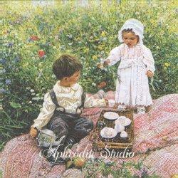 PICKNIC 子供たちのピクニック 絵画 1枚 バラ売り 33cm ペーパーナプキン Ambiente