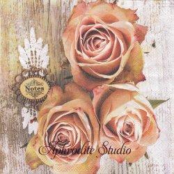 Roses On Wood 木目とアンティーク薔薇 1枚 バラ売り 33cm ペーパーナプキン Ambiente