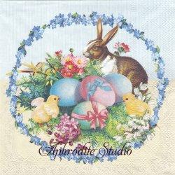 EASTER EGG WREATH イースターのリース 兎とひよこと卵 バニー アンティーク 1枚 バラ売り 33cm ペーパーナプキン Ambiente