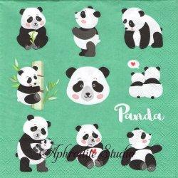 PANDA BEARS グリーン 可愛いパンダ 1枚 バラ売り 33cm ペーパーナプキン Ambiente