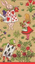 40cm V&A ALICE IN WONDERLAND ゴールド 不思議の国のアリス キャラクター 1枚 バラ売り ペーパーナプキン Caspari カスパリ