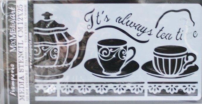 スタンペリア【Tea Time】 厚手 ステンシルシート♪ 12x25cm KSTDL18 テンプレート エンボス Stamperia