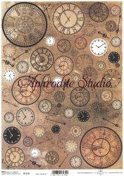 商用販売可能 歯車と時計 デコパージュシート 1枚 和紙 ライスペーパー ITD Collection