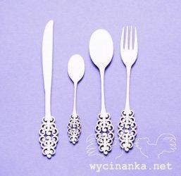 wycinanka sztucce retro エンベリッシュメント スプーン、フォーク&ナイフのセット ウィチナンカ